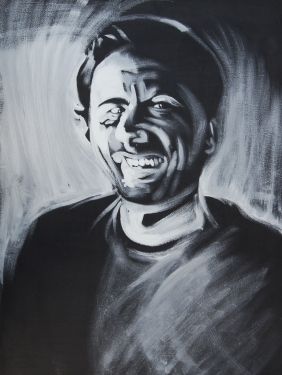 Self Portrait, 18x24, White oil on black masonite, 2012